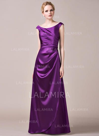 3d306258080  US  118.99  A-Line Princess Charmeuse Bridesmaid Dresses Ruffle  Off-the-Shoulder Sleeveless Floor-Length