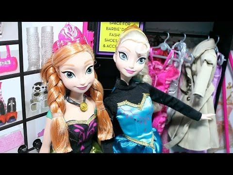 Frozen Elsa Anna Dress up Dolls Barbie Closet Disney Princess Toys 겨울왕국 엘사 안나 바비 옷장 옷갈아입기 인형 장난감 - YouTube