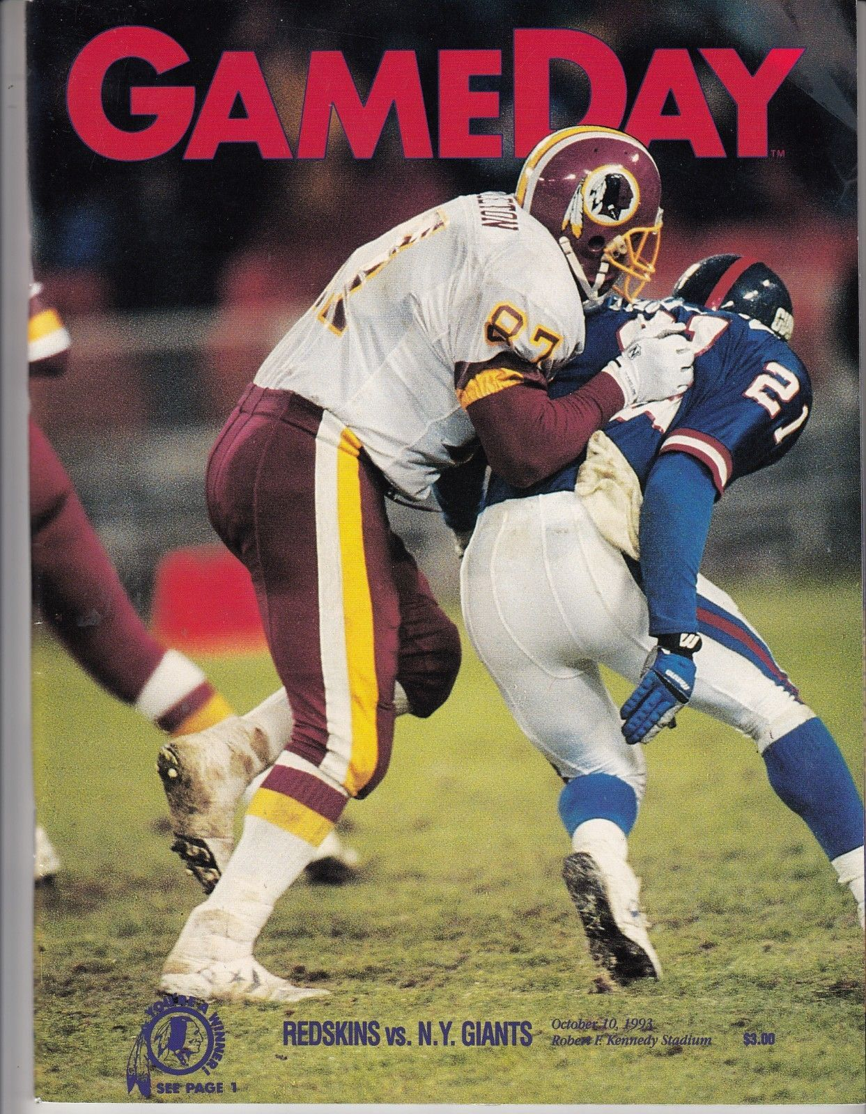 NFL Gameday Program Redskins vs Giants October 10 1993 RFK