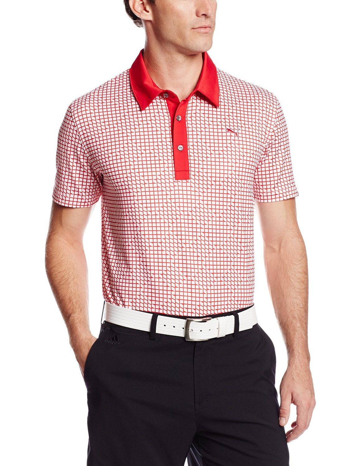 Made from polyester and spandex this mens NA pattern print golf polo shirt  by Puma offers UV protection UPF