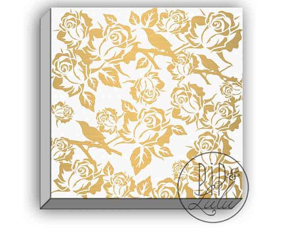 Modern white and gold wall art, rose pattern print, gold and white ...