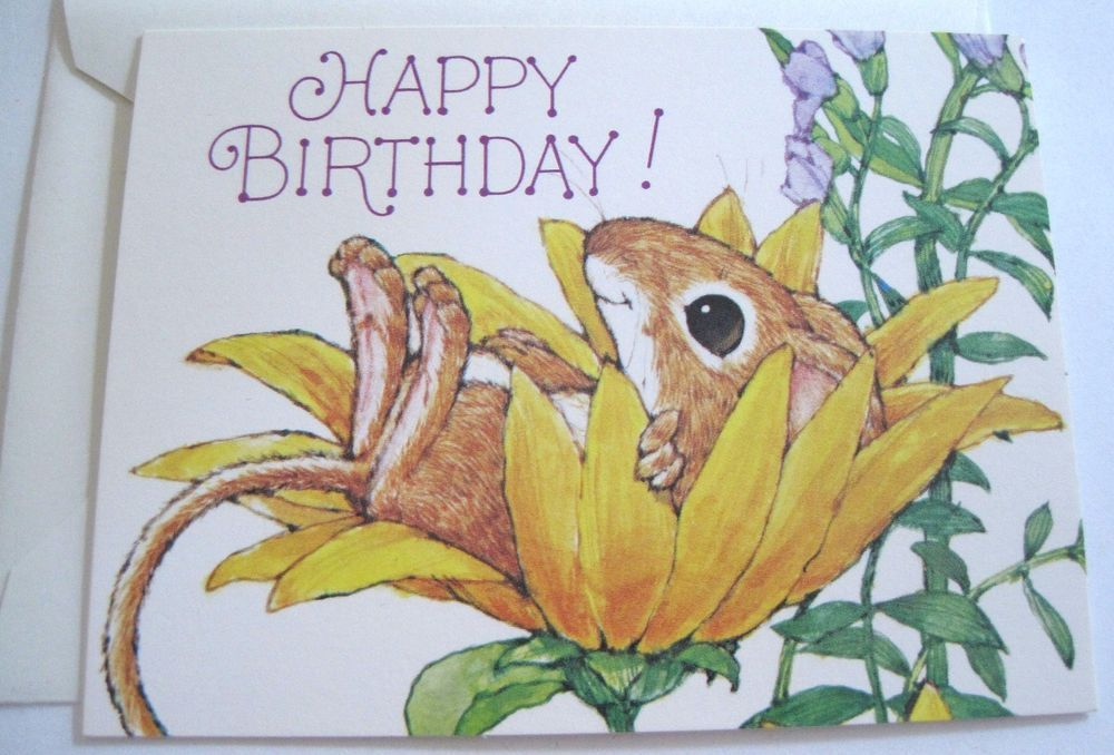 Unused vtg birthday gift card cute mouse in yellow flower current unused vtg birthday gift card cute mouse in yellow flower current inc collectibles paper vintage greeting cards ebay m4hsunfo