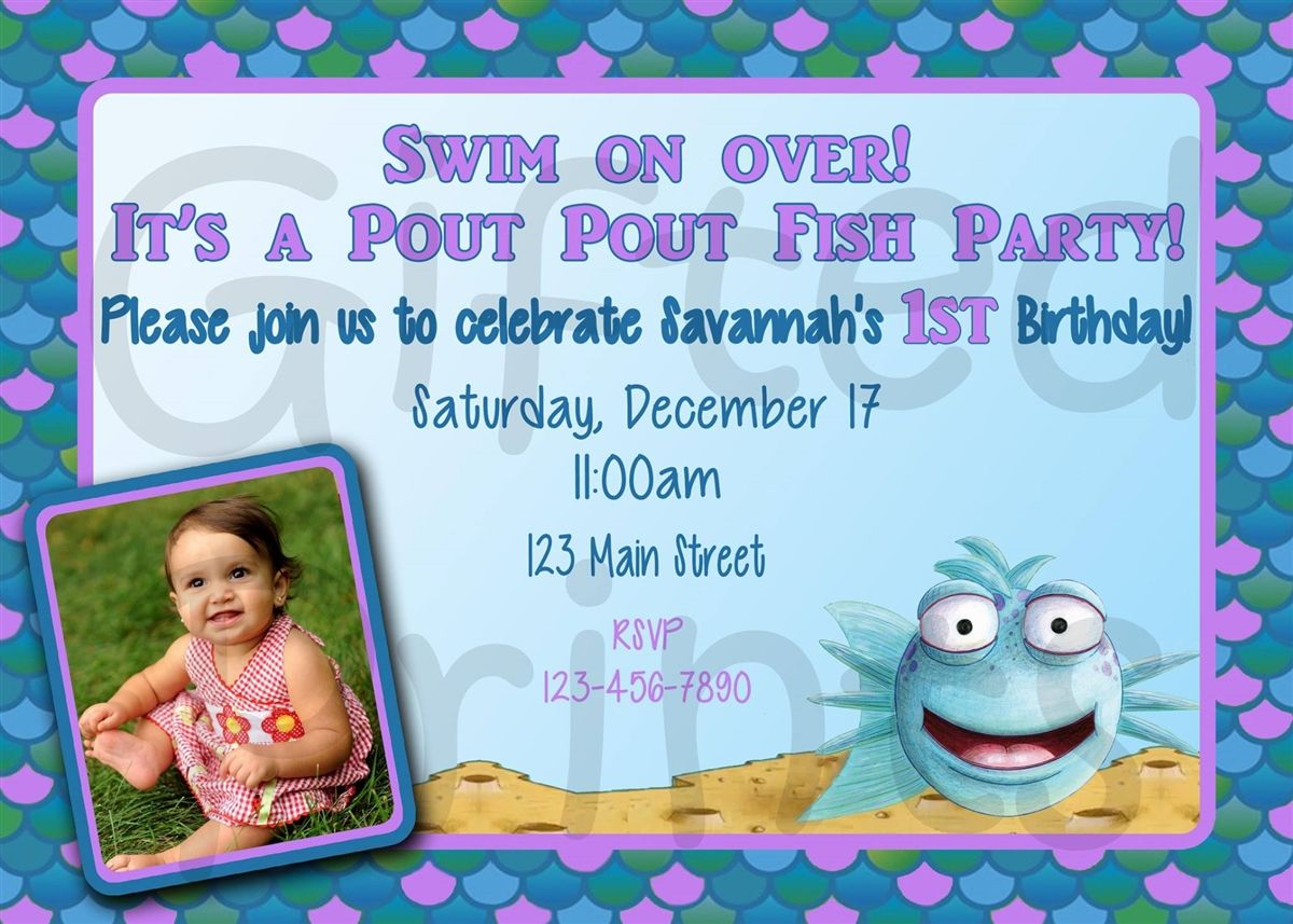 Smiling Pout Pout Fish Birthday Invitation 1