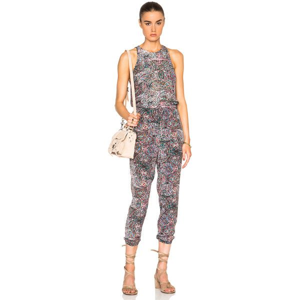L'AGENCE Cooper Jumpsuit ($280) ❤ liked on Polyvore featuring jumpsuits, rompers & jumpsuits, romper jumpsuit, playsuit jumpsuit, silk romper, silk jumpsuit and jump suit