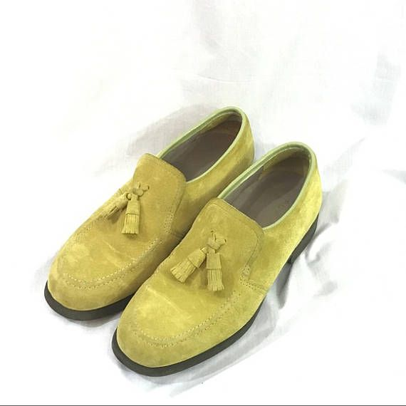 Vintage 70s Chartreuse Green Suede Hush Puppies Loafers 7 Green Suede Loafers Mod Fashion