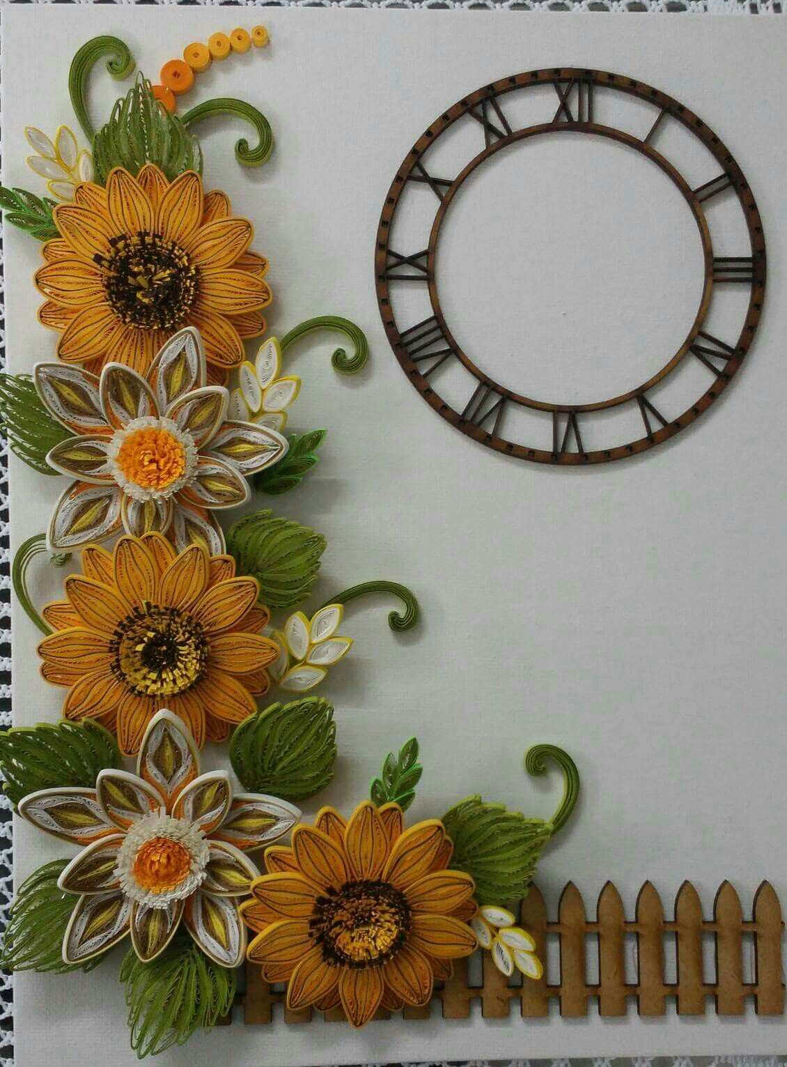 WALL CLOCK quilled frames shadow boxes
