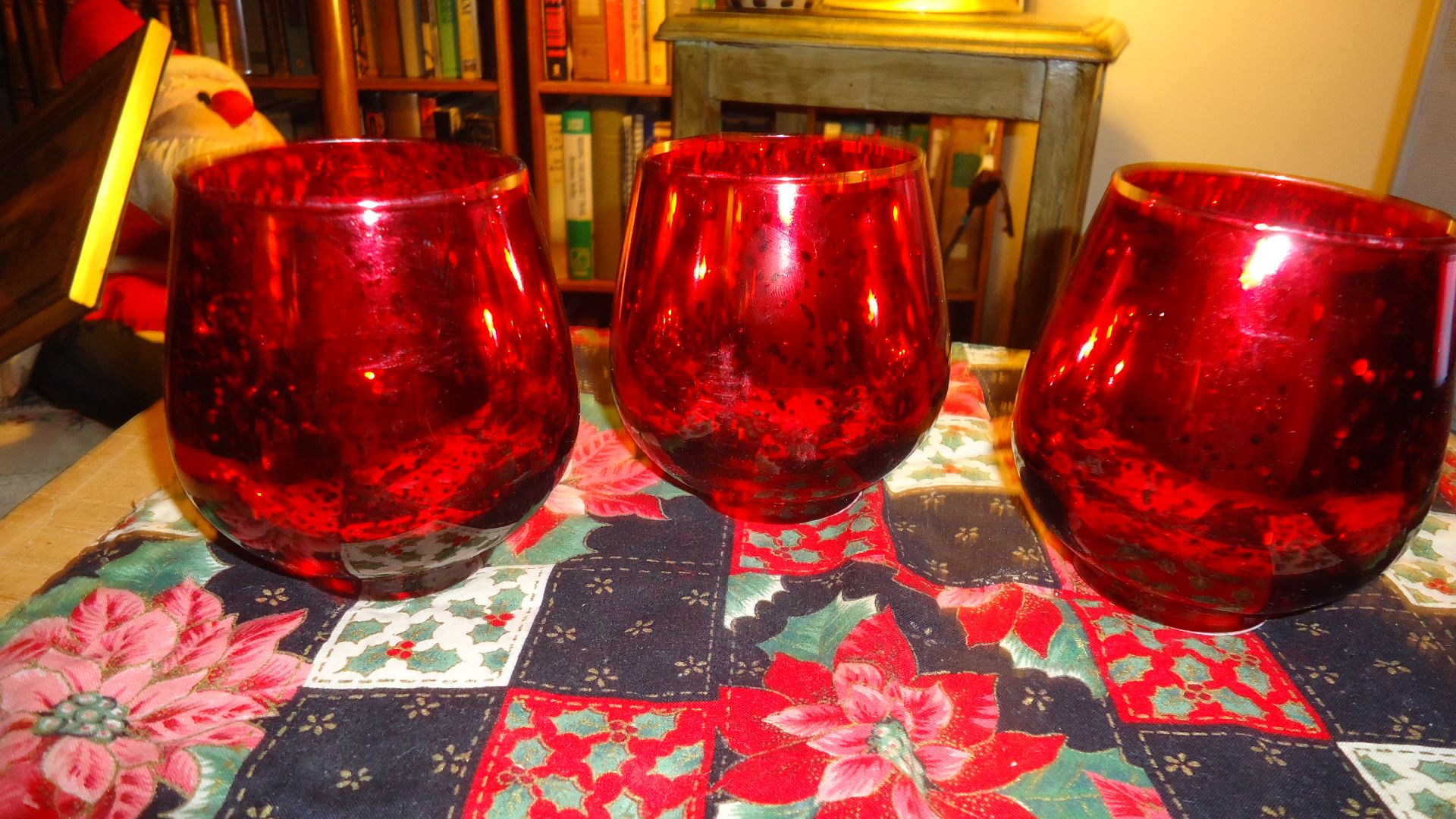 Red mercury glass candle holder new beautiful holders inches