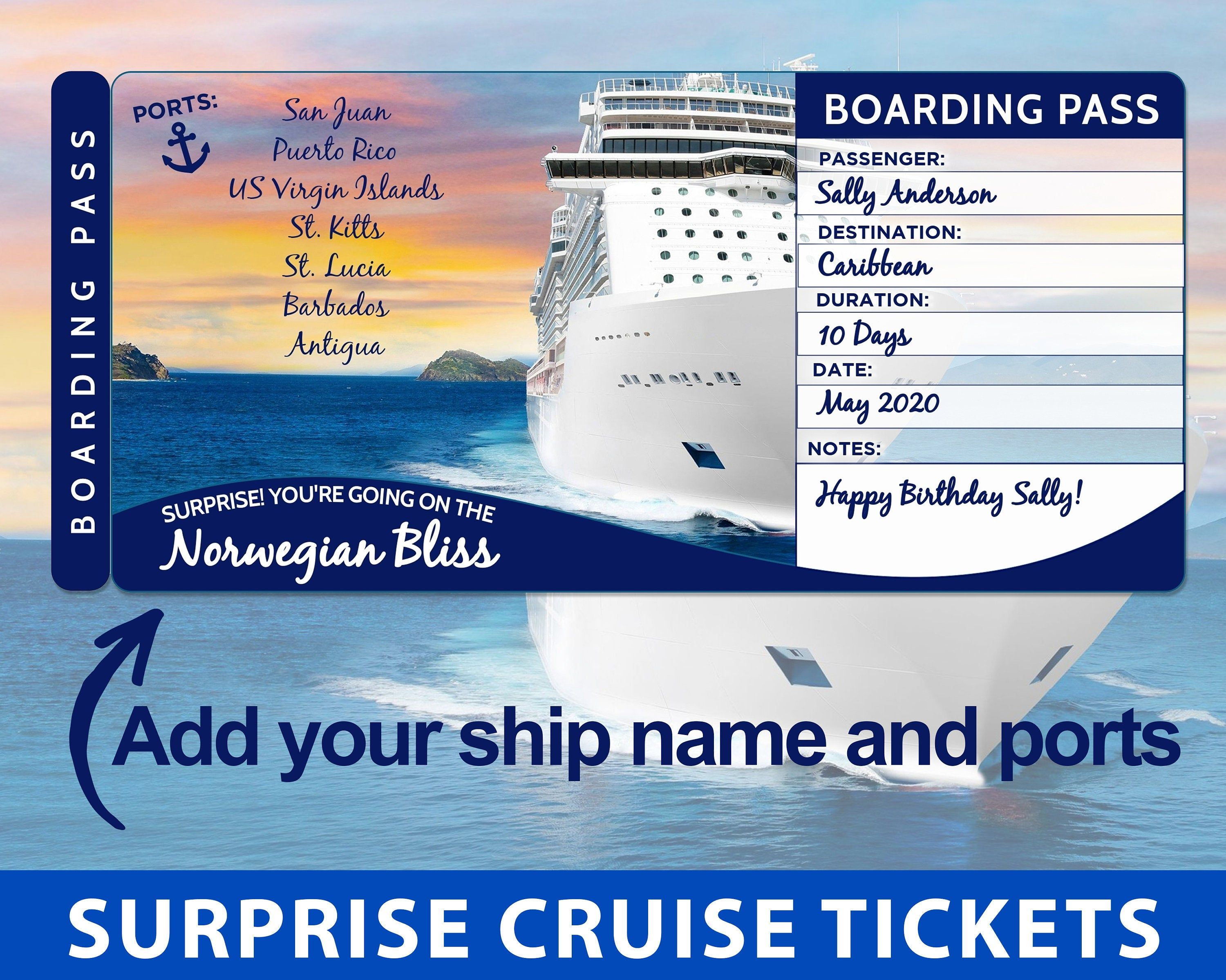 Surprise Cruise Boarding Pass Cruise Tickets Template Etsy Cruise Tickets Cruise Ticket Template