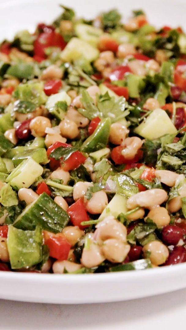 Once You Try This Mediterranean Style Three Bean Salad You Will Not Go Back Extra Crunchy Bean Salad Recipes Mediterranean Diet Recipes Mediterranean Dishes