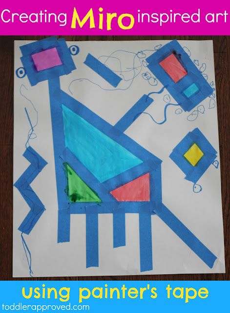 Toddler Approved!: Creating Miro Inspired Art... Using Painter's Tape. What is your favorite artist to teach your kids about?