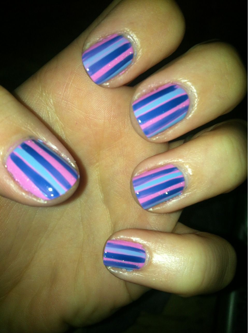 Purple, blue and pink striped nails | Nails | Pinterest