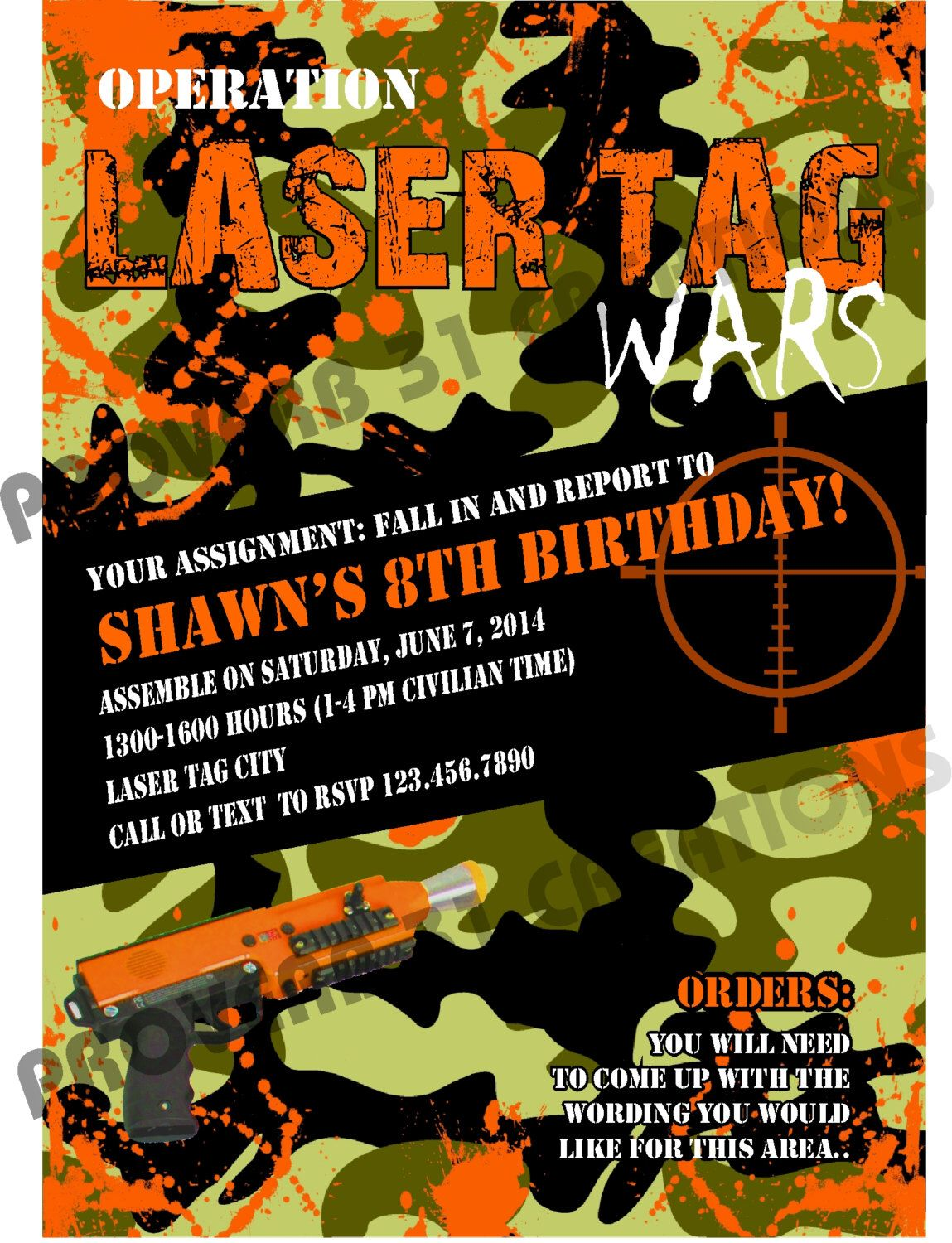 Camo Laser Tag Party Invite DIY Printable Party Invitation NOT ...