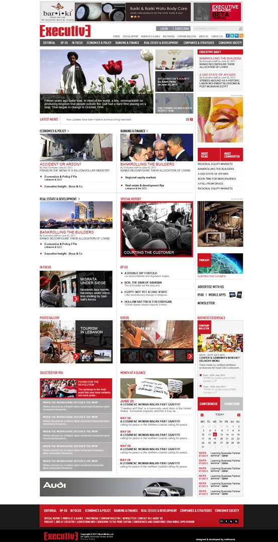 Executive #magazine. #Cre8mania has created a rich informative #website that is able to recommend the user with loads of constantly changing #information within a user friendly strategy, at the same time showing their large scope of audience and maintaining the good looking attractive website. #design #html #cms #ecommerce