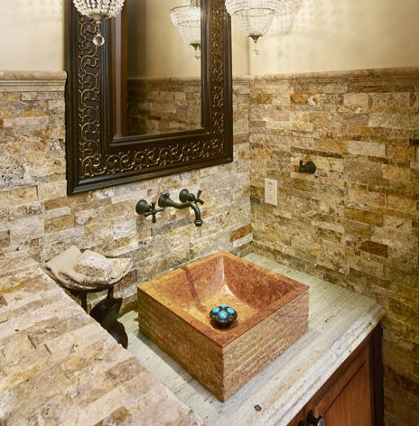 Scabos Split Stack Stone Backsplash Bathroom Stone Backsplash