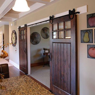 Horseshoe Wood Sliding Barn Door Hardware Rustic 6 8 10 12 16 Ft For Double Door With Images Home Contemporary Style Homes Barn Doors Sliding