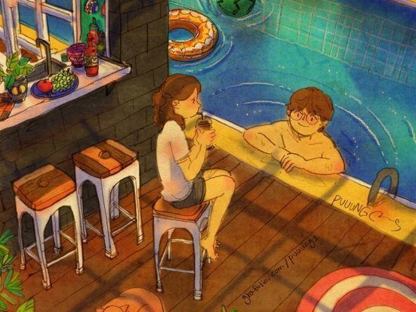 이리와요, 들어와서 같이 물놀이해요. 무서워요. 수영 못한단말이에요. 내가 잡아줄게요!  Come on in, let's play in the water together. I'm scared. I can't swim. I'll hold onto you!