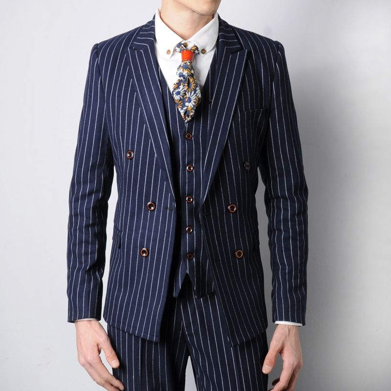 Latest Coat Pant Designs Navy Blue Stripes Men Suit Jacket Style ...