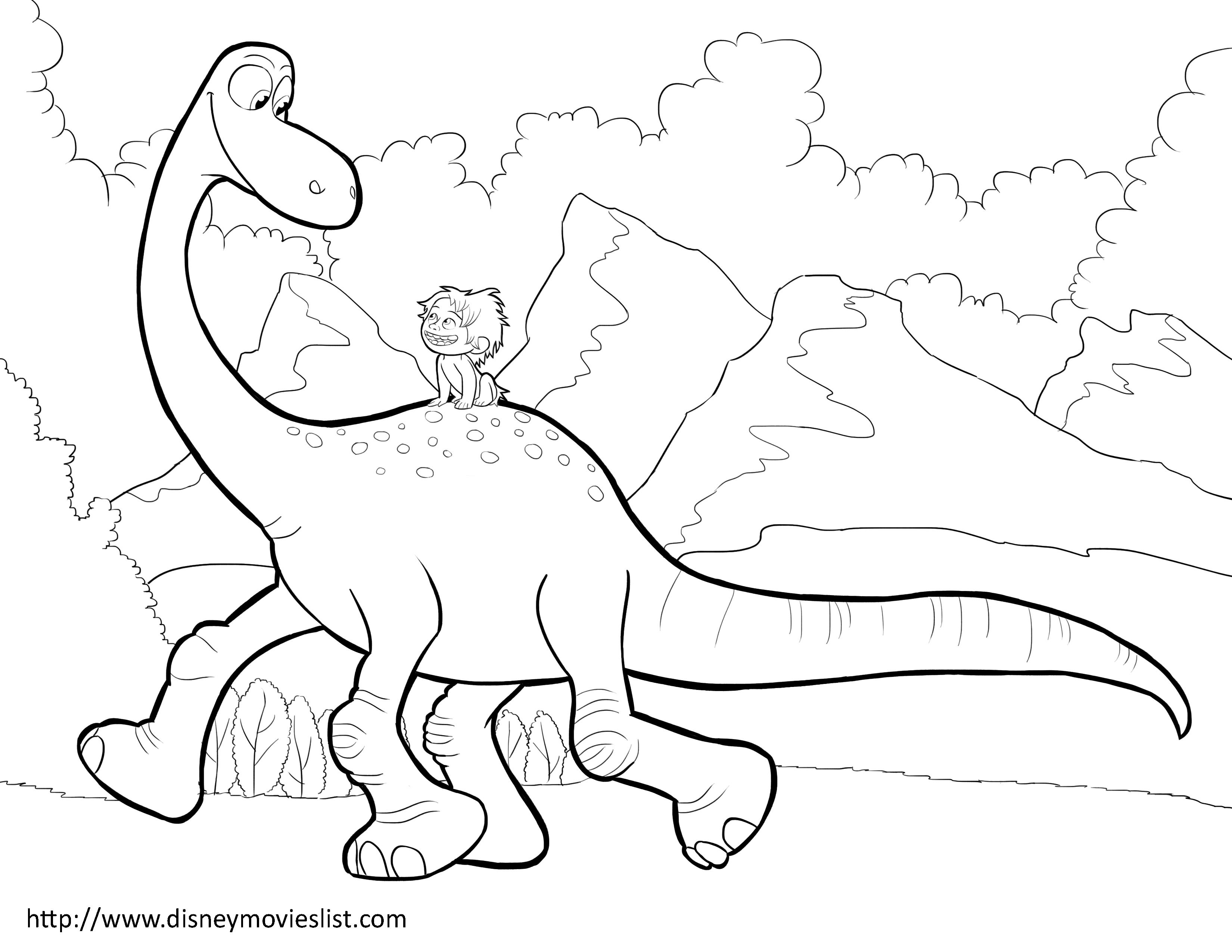 Disneys The Good Dinosaur Arlo And Spot Coloring Page