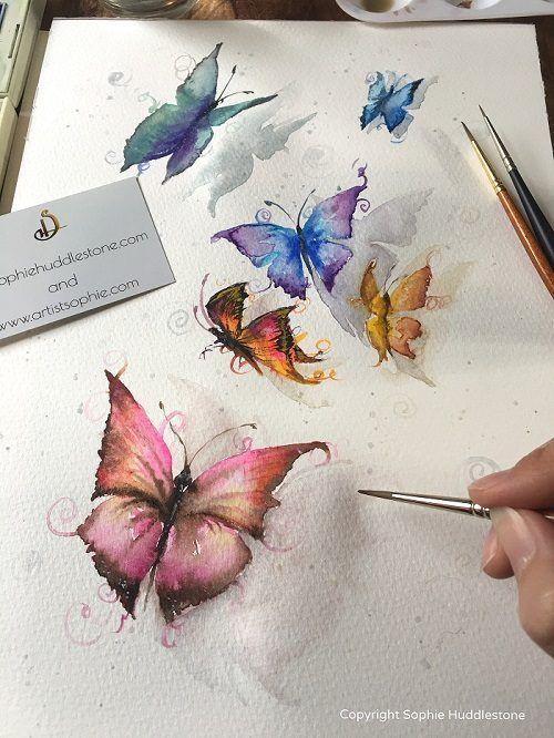 Butterfly watercolour painting by U.K. Artist Sophie Huddlestone