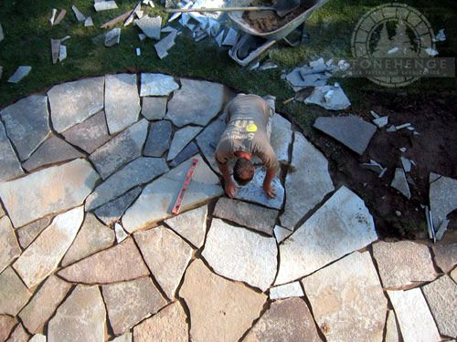aerial view of a flagstone patio during construction works in