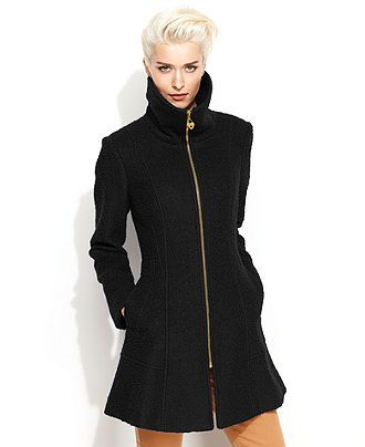 Guess Coat Funnel Neck Boucle Womens Coats Macy S
