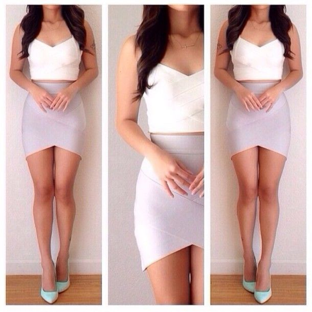 Skirt | Tank top dress, Bandage skirt and High low