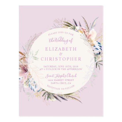 Trendy Flowers \ Feathers Watercolor Wedding Postcard - postcard - wedding postcard