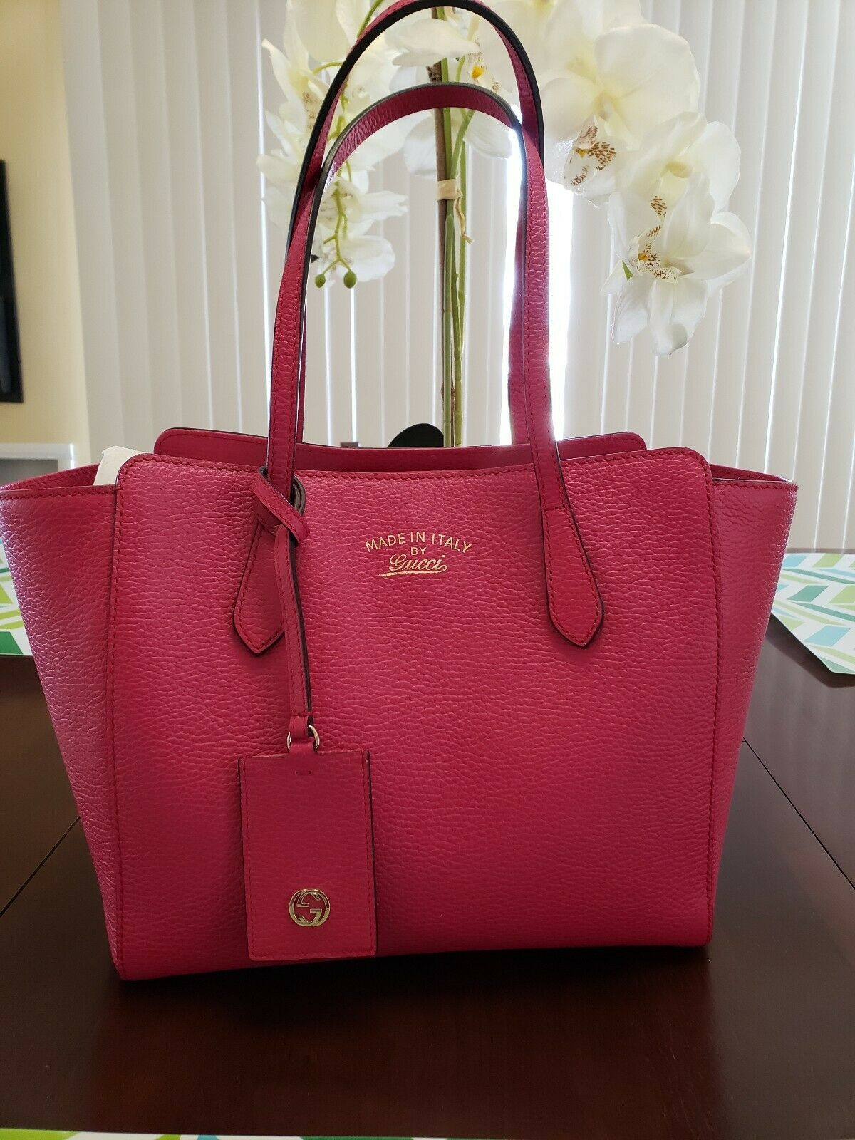 1927be1336220e Details about Auth GUCCI GG 113019 Pink Brown Jacquard & Leather ...