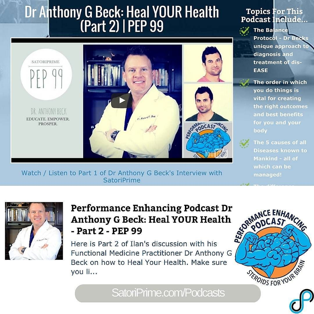 Dr Anthony G Beck: Heal YOUR Health (Part 2) | PEP 99 http://ift.tt/1NbTVoT #twitter  Topics For This Podcast Include... - The Balance Protocol - Dr Becks unique approach to diagnosis and treatment of dis-EASE - The order in which you do things is vital for creating the right outcomes and best benefits for you and your body - The 5 causes of all Diseases known to Mankind - all of which can be managed! - The difference between Genetic Dysfunction and Disease - and so much more!!!!