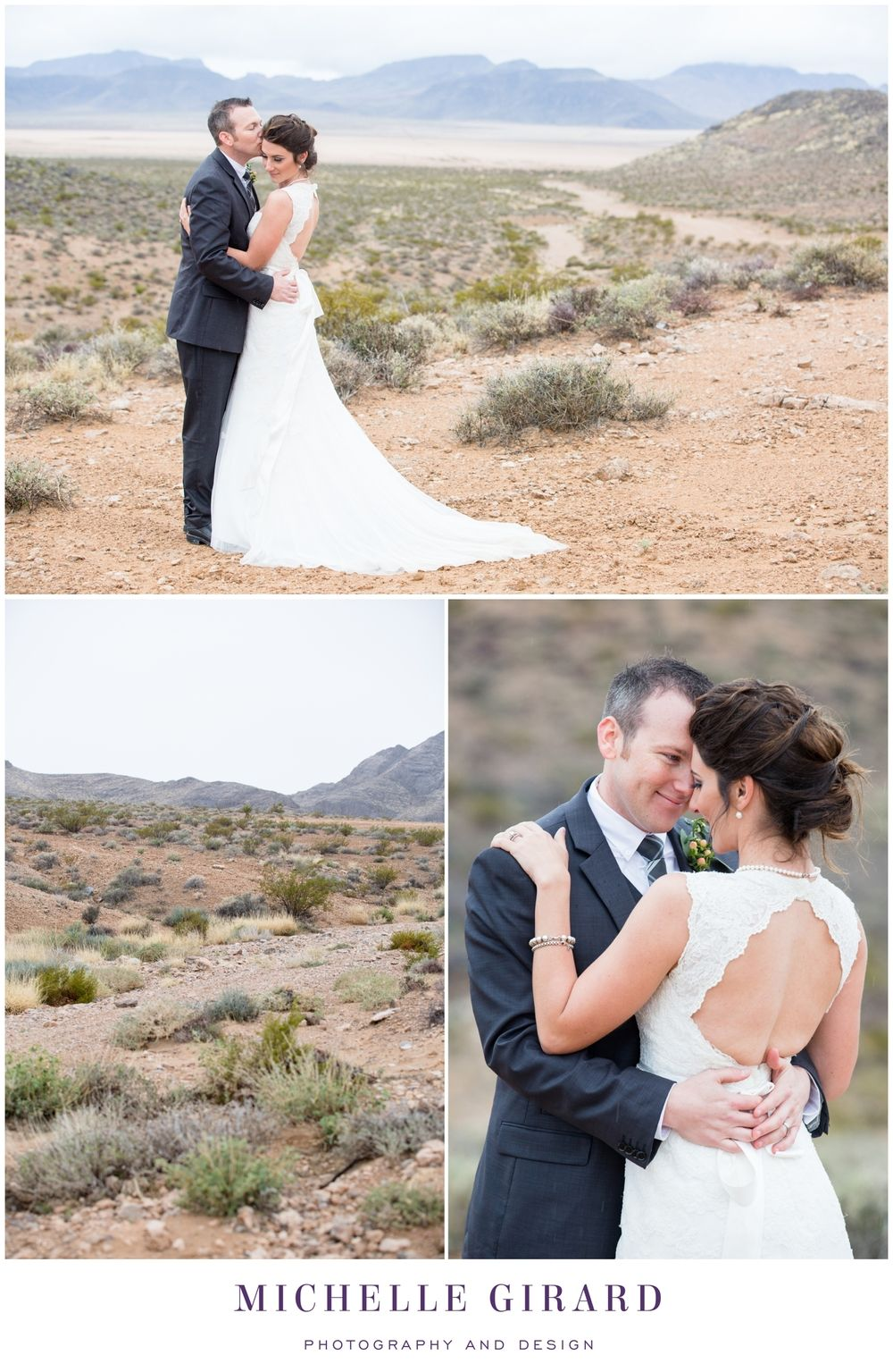 Bride and Groom Romantic Portrait :: Cloudy Desert Day :: Wedding Gown with Lace and an Open Back :: Southwest Desert Wedding in Nevada outside of Las Vegas :: Michelle Girard Photography and Design