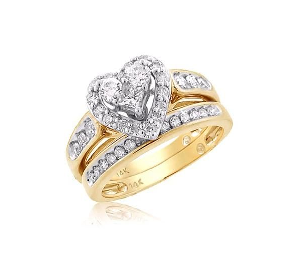 Heart Shaped Bridal Set With Unique Design In 14k Yellow Gold Heart Wedding Rings Gold Wedding Rings Wedding Rings