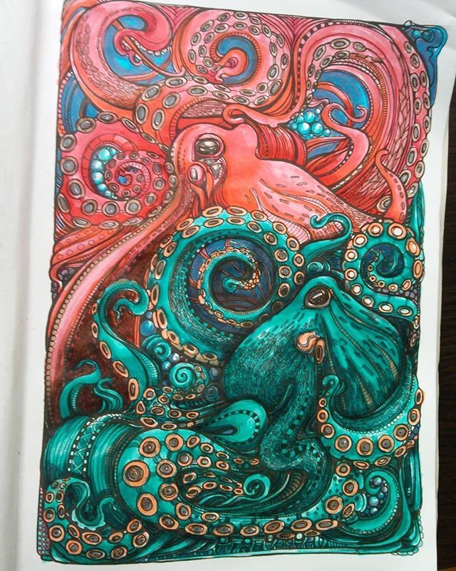 Super Cool!! ✨ @oidhche #doodlefusion #adultcoloring ...