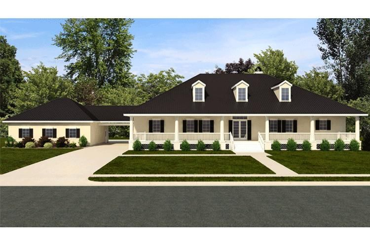 House plan 5445 00049 country plan 3 045 square feet 3 for Rear access home designs