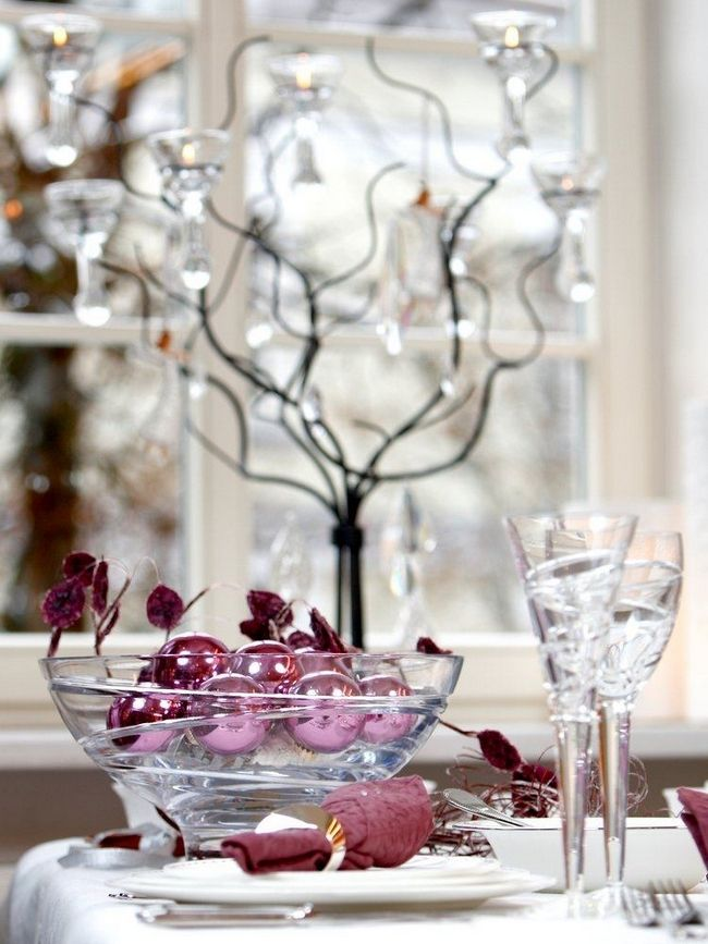 What To Put In A Glass Bowl For Decoration Amusing Purple Tree Ornaments In A Transparent Glass Bowl  Holiday Review