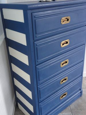 Dresser with stripes
