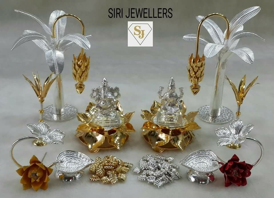 Pin by Anu on Decorating   Pinterest   Silver pooja items ...