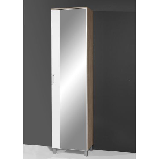 Santos Tall Mirrored Bathroom Cabinet in Gloss White/Oak ...