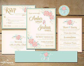 Printable floral wedding invitation suite diy wedding invite printable floral wedding invitation suite diy wedding invite mint and peach junglespirit Images