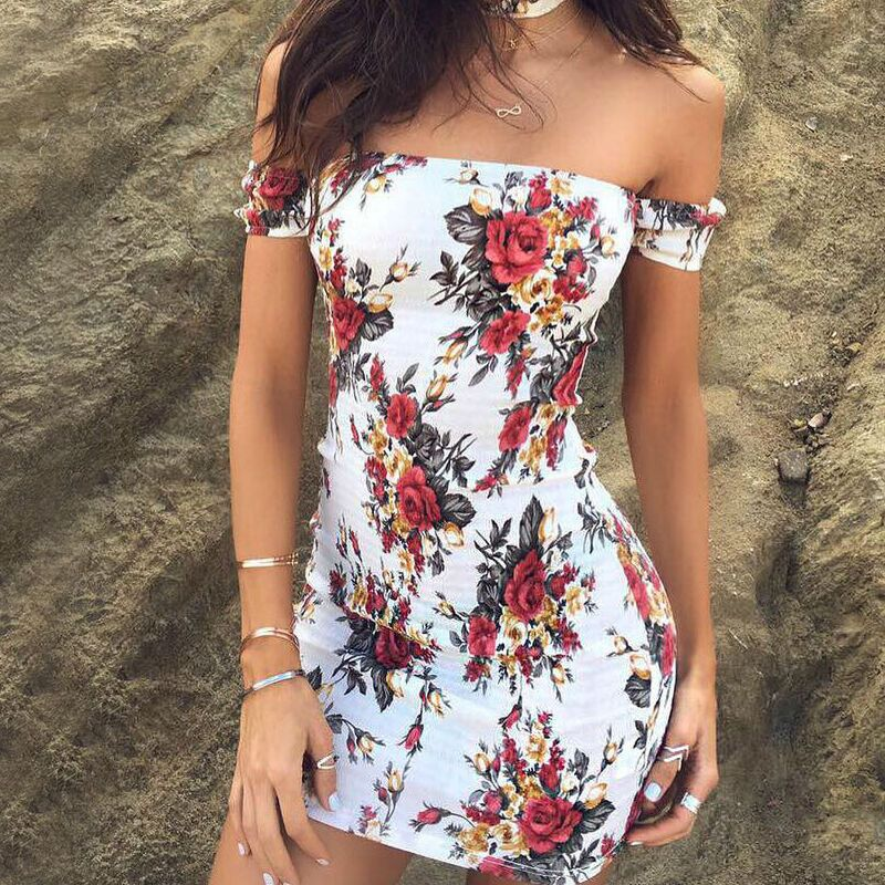 87134ac8bf £1.99 GBP - Women Ladies Summer Off Shoulder Floral Printed Tube Top Mini  Dress+Choker.  ebay  Fashion