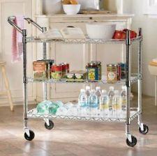 CHROME Kitchen Portable Bar 3 TIER ROLLING SERVING CART Storage Rack NEW