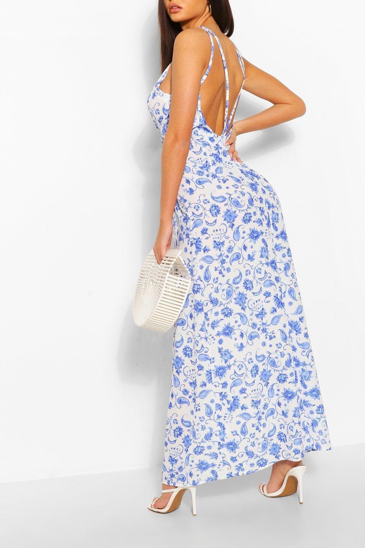 Porcelain Print Strappy Back Maxi Dress Boohoo Maxi Dress White Maxi Dresses Bodycon Fashion [ 1500 x 1000 Pixel ]