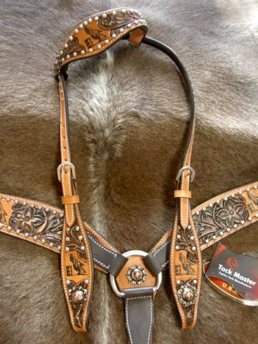 080466efcdb95 HORSE BRIDLE BREAST COLLAR WESTERN LEATHER HEADSTALL TACK RODEO BARREL  RACING S1
