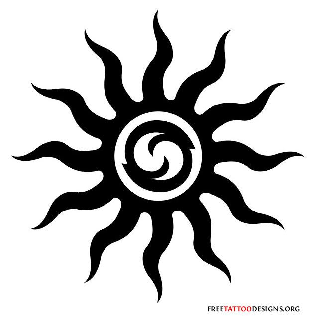 Sun Tribal Tattoo Designs