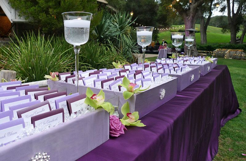 Purple Wedding Reception Card Table