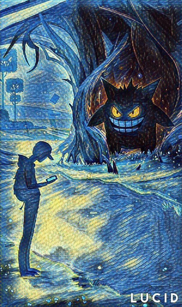 315b46eb Halloween loading screen in the style of Starry Night | Pokémon ...