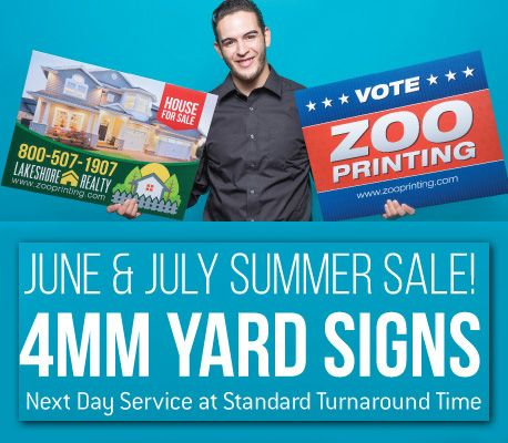 "Don't wait too long to market yard signs to your clients. You still have time to market, gather artwork, get your product delivered and earn profits.  ZOO PRINTING ""Putting Profits in Your Pocket""  Create Your Free Account Today! http://zooprint.us/6ISkL #Printing #PrintBrokers #GraphicDesigners #WholesalePrinting #ZooPrinting"