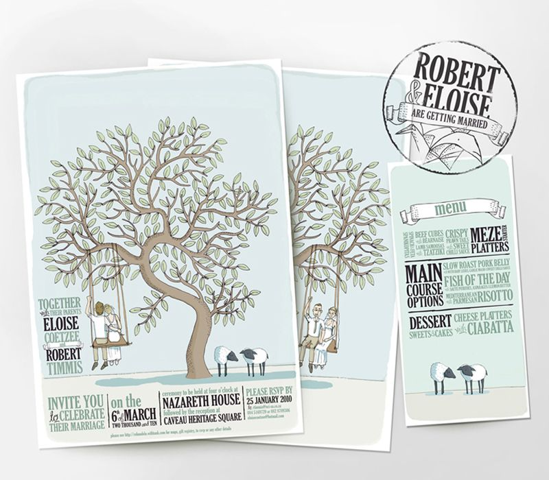 Illustrated Wedding Invitations from Me + E Illustrated wedding - wedding invitation design surabaya