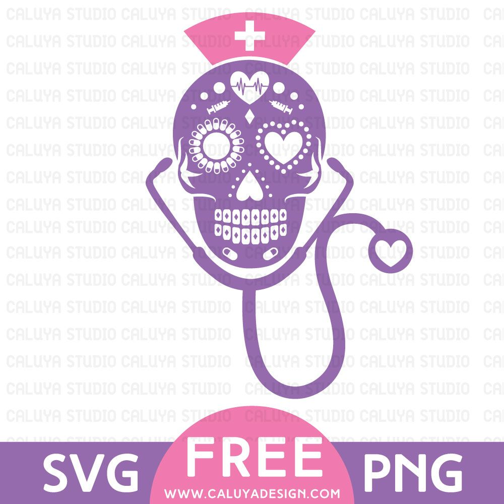 3a15d3edbca6 Sugar Skull Nurse Free SVG & PNG Download By | Cricut | Skull ...