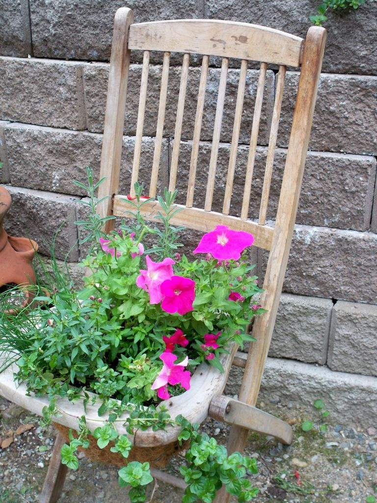 This Attractive Clever Edible Folding Chair Planter Looks Good Enough To Eat Trailing Herbs And Flowers The Timber Frame Are A Perfect Match