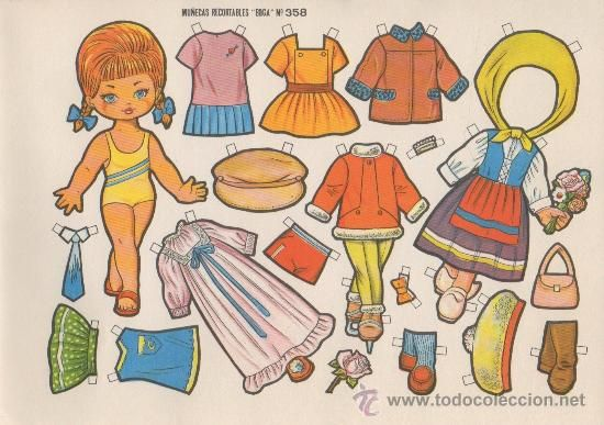 Lamina Recortable Muñeca Boga Nº 358 Niña Ropa Moda Vestido Infantil Juego Juguete Paper Dolls Vintage Paper Dolls Dolls
